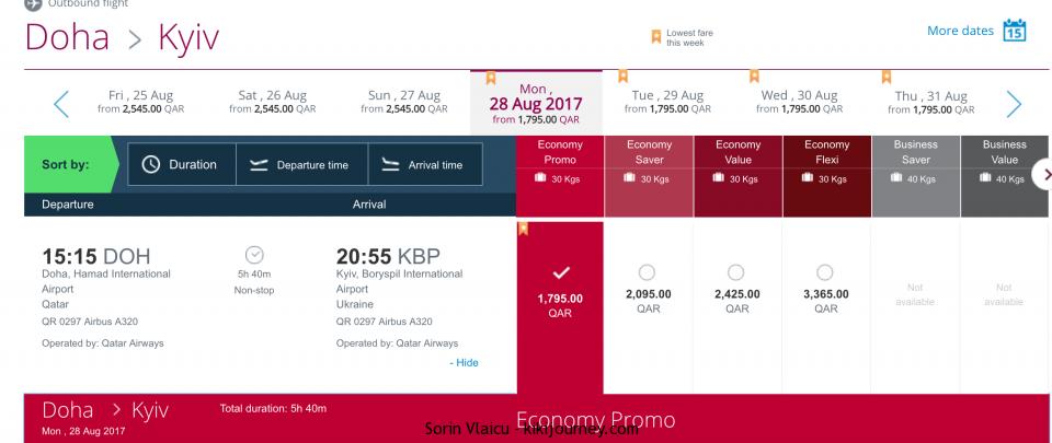 Doha to Kiev Flight
