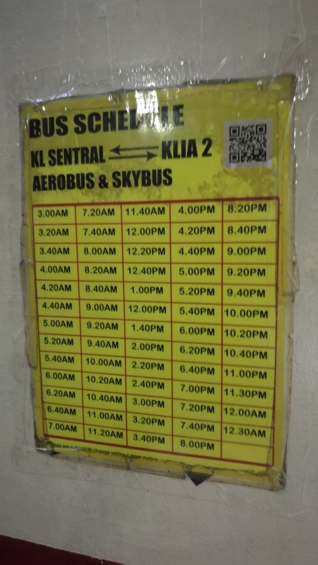 Bus Timetable Sky Bus KL