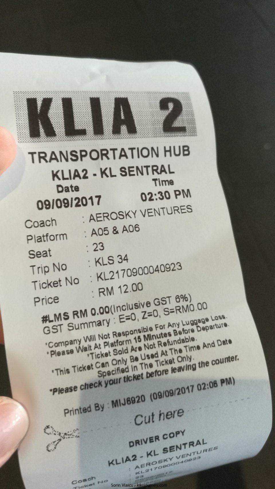 KLIA2 Airport to Kuala Lumpur